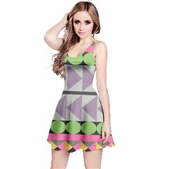 Shapes Patchwork Circle Triangle Reversible Sleeveless Dress by Mariart