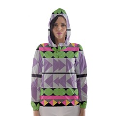 Shapes Patchwork Circle Triangle Hooded Wind Breaker (women) by Mariart