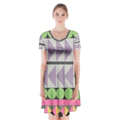 Shapes Patchwork Circle Triangle Short Sleeve V Neck Flare Dress by Mariart