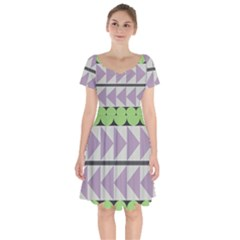 Shapes Patchwork Circle Triangle Short Sleeve Bardot Dress