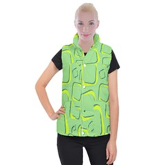 Shapes Green Lime Abstract Wallpaper Women s Button Up Puffer Vest by Mariart