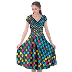 Polkadot Rainbow Colorful Polka Circle Line Light Cap Sleeve Wrap Front Dress by Mariart