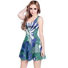 Tropics Leaf Bluegreen Reversible Sleeveless Dress