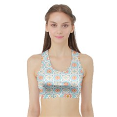 Star Sign Plaid Sports Bra With Border by Mariart