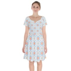 Star Sign Plaid Short Sleeve Bardot Dress