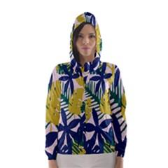 Tropics Leaf Yellow Green Blue Hooded Wind Breaker (women)