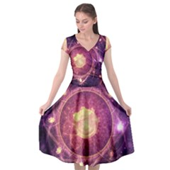 A Gold And Royal Purple Fractal Map Of The Stars Cap Sleeve Wrap Front Dress by jayaprime