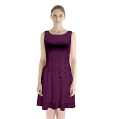 Black Cherry Solid Color Sleeveless Waist Tie Chiffon Dress by SimplyColor