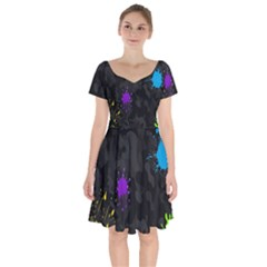 Black Camo Shot Spot Paint Short Sleeve Bardot Dress by Mariart