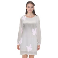Butterfly Silhouette Organic Prints Linen Metallic Synthetic Wall Pink Long Sleeve Chiffon Shift Dress