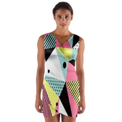 Geometric Polka Triangle Dots Line Wrap Front Bodycon Dress by Mariart