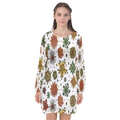 Flower Floral Sunflower Rose Pattern Base Long Sleeve Chiffon Shift Dress  by Mariart