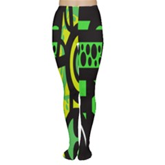 Half Grower Banner Polka Dots Circle Plaid Green Black Yellow Women s Tights by Mariart