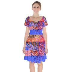 Glitchdrips Shadow Color Fire Short Sleeve Bardot Dress by Mariart
