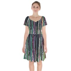Heimbold Sign Random Shadow Line Vertical Light Short Sleeve Bardot Dress by Mariart