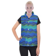 Geometric Line Wave Chevron Waves Novelty Women s Button Up Puffer Vest by Mariart