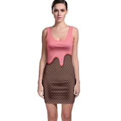 Ice Cream Pink Choholate Plaid Chevron Sleeveless Bodycon Dress by Mariart