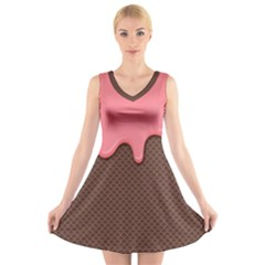 Ice Cream Pink Choholate Plaid Chevron V Neck Sleeveless Skater Dress