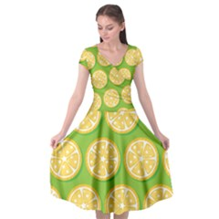 Lime Orange Yellow Green Fruit Cap Sleeve Wrap Front Dress