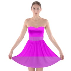 Line Pink Strapless Bra Top Dress by Mariart