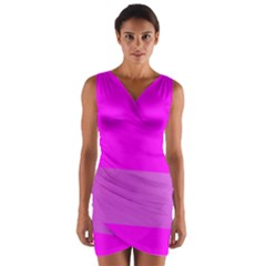 Line Pink Wrap Front Bodycon Dress by Mariart