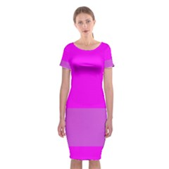 Line Pink Classic Short Sleeve Midi Dress by Mariart