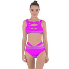Line Pink Bandaged Up Bikini Set  by Mariart