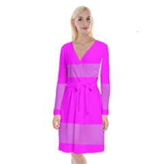 Line Pink Long Sleeve Velvet Front Wrap Dress by Mariart