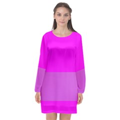 Line Pink Long Sleeve Chiffon Shift Dress  by Mariart