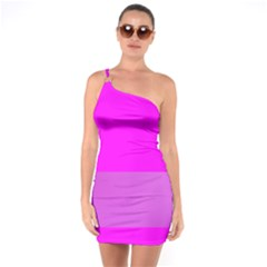 Line Pink One Soulder Bodycon Dress by Mariart