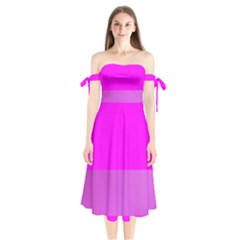 Line Pink Shoulder Tie Bardot Midi Dress by Mariart