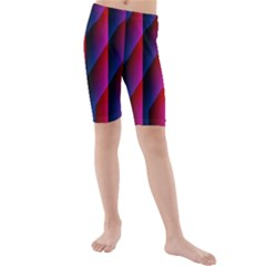 Photography Illustrations Line Wave Chevron Red Blue Vertical Light Kids  Mid Length Swim Shorts by Mariart