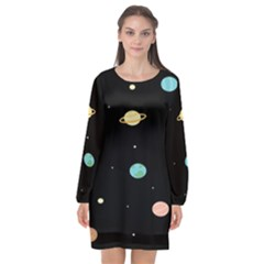 Planets Space Long Sleeve Chiffon Shift Dress  by Mariart