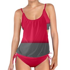 Red Gray Flag Line Horizontal Tankini by Mariart