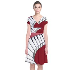 Piano Keys Music Short Sleeve Front Wrap Dress by Mariart