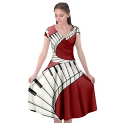 Piano Keys Music Cap Sleeve Wrap Front Dress