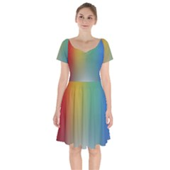 Rainbow Flag Simple Short Sleeve Bardot Dress