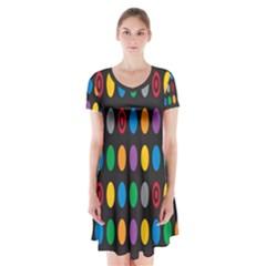 Polka Dots Rainbow Circle Short Sleeve V Neck Flare Dress by Mariart