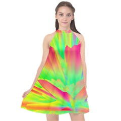 Screen Random Images Shadow Green Yellow Rainbow Light Halter Neckline Chiffon Dress  by Mariart