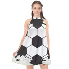 Soccer Camp Splat Ball Sport Halter Neckline Chiffon Dress  by Mariart