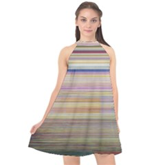 Shadow Faintly Faint Line Included Static Streaks And Blotches Color Halter Neckline Chiffon Dress  by Mariart