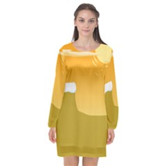 Sunrise Sunset Desert Sun Light Orange Ice Snow Long Sleeve Chiffon Shift Dress