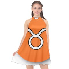 Taurus Symbol Sign Orange Halter Neckline Chiffon Dress  by Mariart