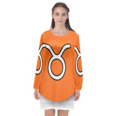 Taurus Symbol Sign Orange Long Sleeve Chiffon Shift Dress  by Mariart