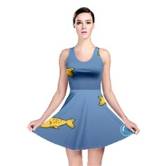Water Bubbles Fish Seaworld Blue Reversible Skater Dress