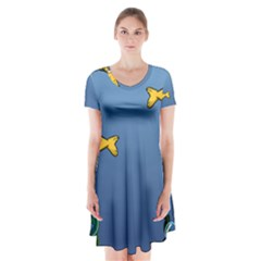 Water Bubbles Fish Seaworld Blue Short Sleeve V Neck Flare Dress by Mariart