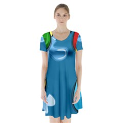 Water Balloon Blue Red Green Yellow Spot Short Sleeve V Neck Flare Dress by Mariart