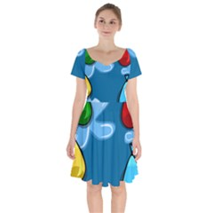Water Balloon Blue Red Green Yellow Spot Short Sleeve Bardot Dress