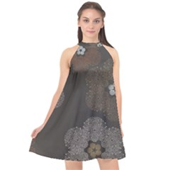 Walls Medallion Floral Grey Polka Halter Neckline Chiffon Dress