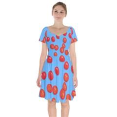 Tomatoes Fruite Slice Red Short Sleeve Bardot Dress